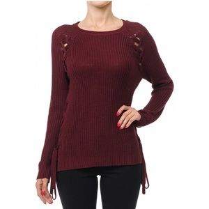 Sweaters - Burgundy Lace-Up Sweater